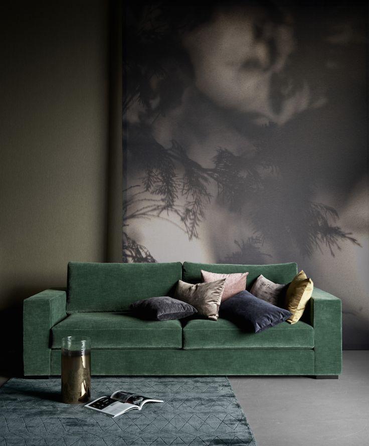 Vert profond - green tendances nuancier pantone velours assortiment coussins nature wild feuille feuillage trends trendy tapis bleu blue luxe haut de gamme
