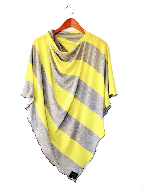 Yellow and Gray Nursing Cover for New Moms // Nursing poncho-Full Coverage-Ponch