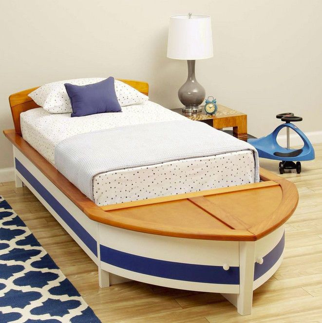 Kids Boys Girls Nautical Sail Boat Twin Bed Wood Storage Sailboat Bed Kid Boats And Sailboats