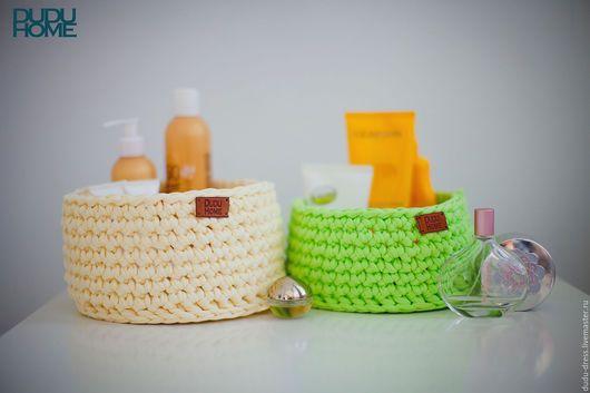 Корзины, коробы ручной работы. Вязаные корзины для ванной комнаты. Dudu-dress. Интернет-магазин Ярмарка Мастеров. Ваниль, хранение