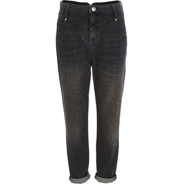 River Island Black animal print slim Mom jeans ($18) ❤ liked on Polyvore featuring jeans, jeans / pants / leggings, pants, sale, high waisted jeans, high rise skinny jeans, animal print jeans, rolled up skinny jeans and high waisted skinny jeans