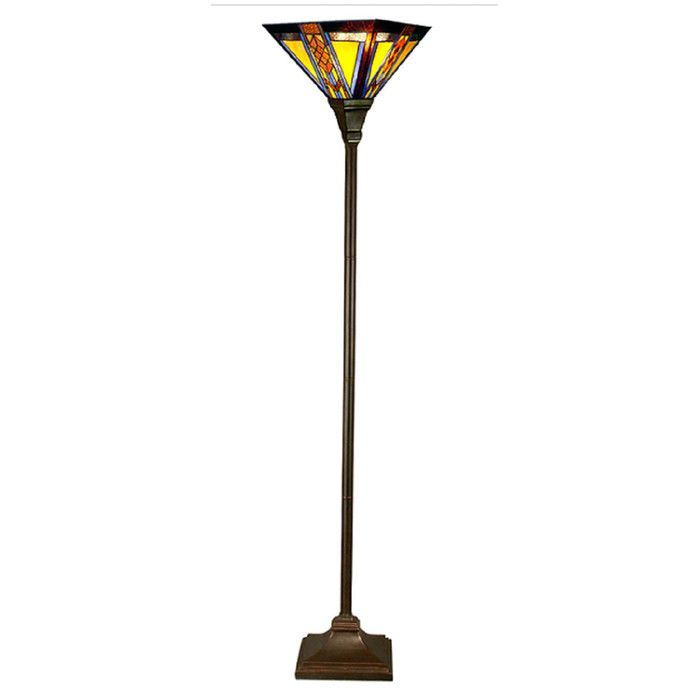 "River of Goods Southwestern Mission Style Stained Glass 70"" Torchiere Floor Lamp & Reviews 