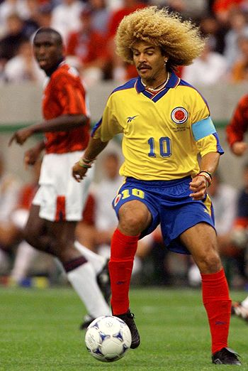 Pele voted Columbia's Carlos Valderrama one of 20th century's top 20 footballers which is fine by us. The hair isn't though. Gazza once got lost in it for most of the second half during an England Columbia match - emerging in floods of tears and with fur balls.