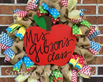 Burlap Teacher Wreath with Chalkboard by southcharmwreaths on Etsy