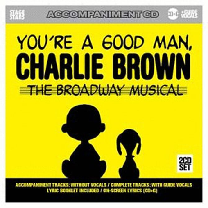 YOU'RE A GOOD MAN, CHARLIE BROWN KARAOKE CDS - This 2-CD accompaniment/ karaoke album of Clark Gesner and Andrew Lippa's Broadway musical hit based on Charles Schulz's Peanuts comic strip features 14 songs in the original show key and tempo. 2-track CDs include vocals with accompaniment, and full-orchestra accompaniment only. This album plays in any CD player. In a karaoke machine, lyrics will appear onscreen. 2-CD Set with lyric booklet included.