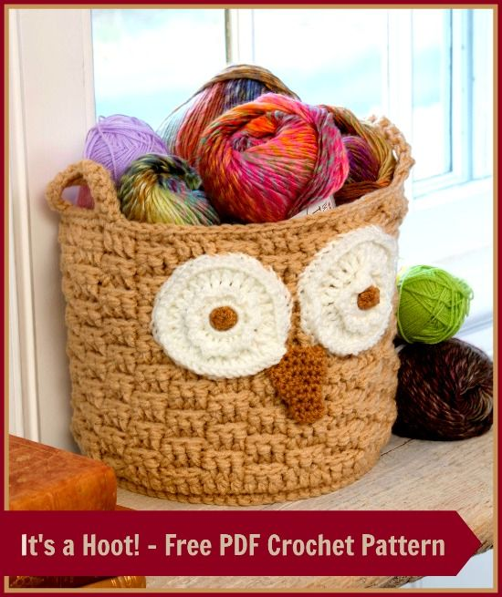 Its a Hoot Storage Basket – Free PDF Crochet Pattern + Curio Crochet Thread Yarn Video Review ツ