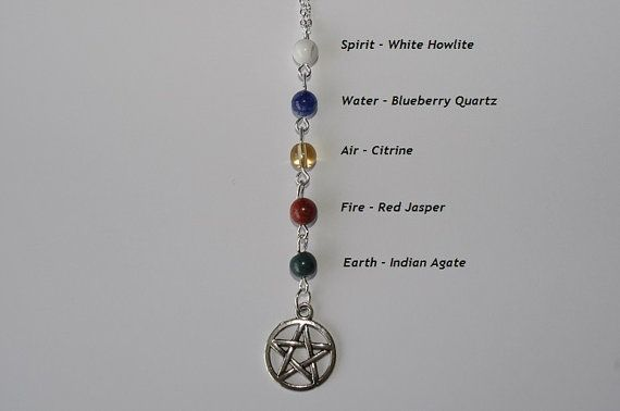 Five Elements Necklace, Wiccan Necklace, Pagan Necklace, Pagan Jewelry, Witch jewellery, Water, Fire, Air, Either, Spirit necklace, Paganism...