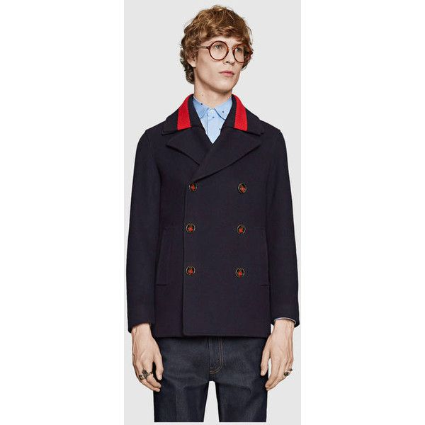 Gucci Wool Pea Coat With Web (9,375 SAR) ❤ liked on Polyvore featuring men's fashion, men's clothing, men's outerwear, men's coats, mens double breasted pea coat, mens fur collar coat, mens double breasted coat, mens double breasted wool coat and mens wool outerwear