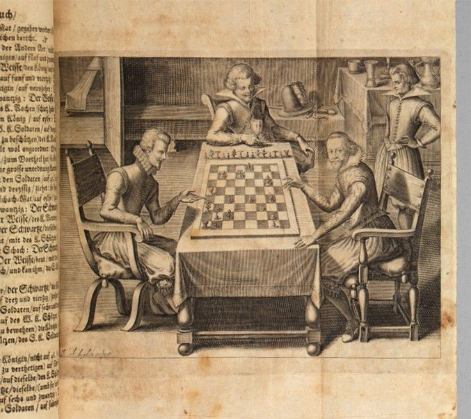 Two men play chess while their friends look on in this illustration by artist Jacob van de Hayden. The man gazing at the viewer with his hand raised, ready to pick up a piece, is the author of the book. Augustus the Younger, Duke of Brunswick-Lüneberg, used the pen name Gustavus Selenus to write this history of the game of chess. Though the content is indebted to Ruy López's Libro de la Invención Liberal y Arte del Juego del Axedrez, the book also contains a history of chess and beautiful…
