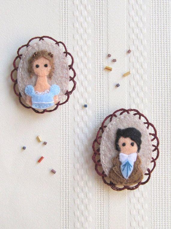 Mr. Darcy and Elizabeth Bennet Pride and Prejudice Felt Brooch via Etsy