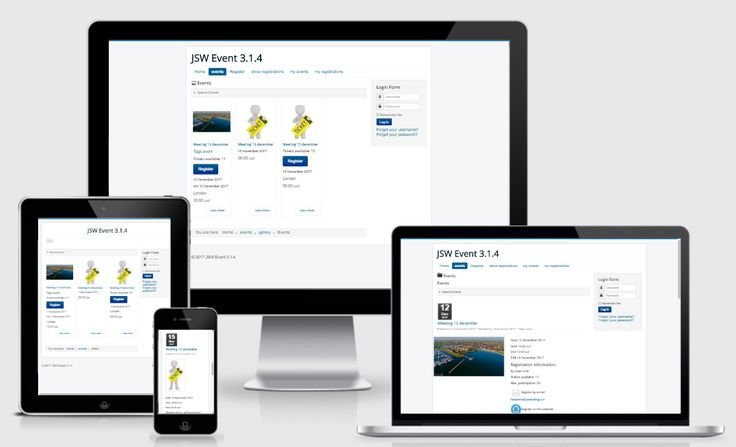 JSW Event Full responsive event management component for Joomla 3 cms system, build with the Joomlatools Framework. Let users manage their events from the frontend, works even on mobile devices.