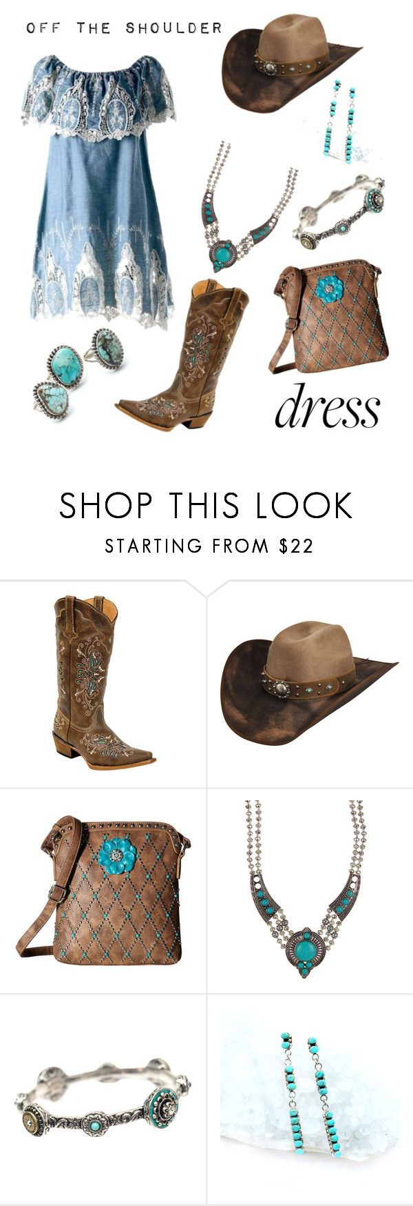 """Off The Shoulder Dress"" by dayna-marie ❤ liked on Polyvore featuring Bailey Western, M&F Western, Eye Candy, Sweet Romance and Child Of Wild"