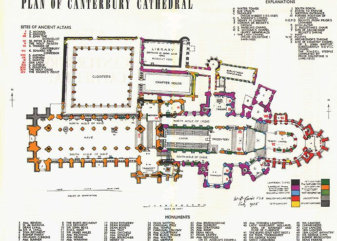 Canterbury Cathedral Floor Plan Plan Of Canterbury