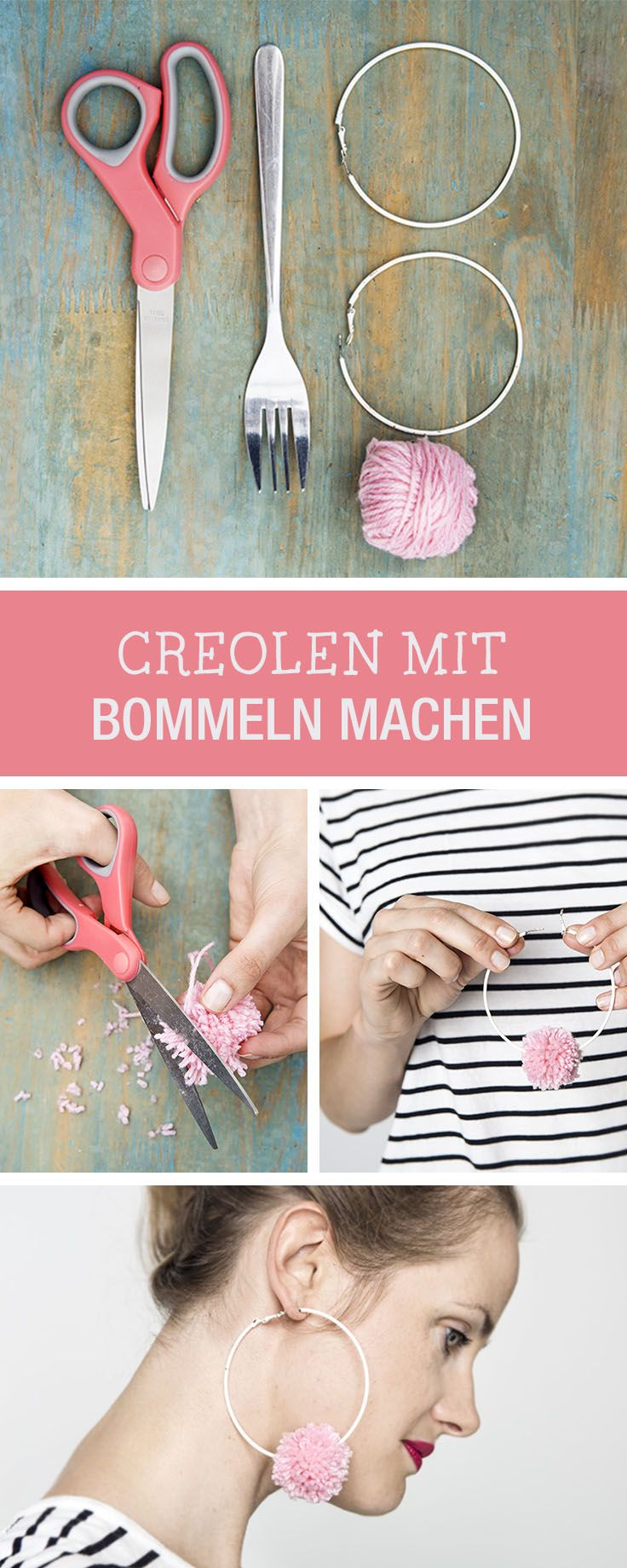 DIY-Anleitung: Süße Creolen mit Bommeln machen, bring die 90er Jahre zurück / DIY tutorial: crafting cute creoles with pom poms, bringing the 90s back via DaWanda.com