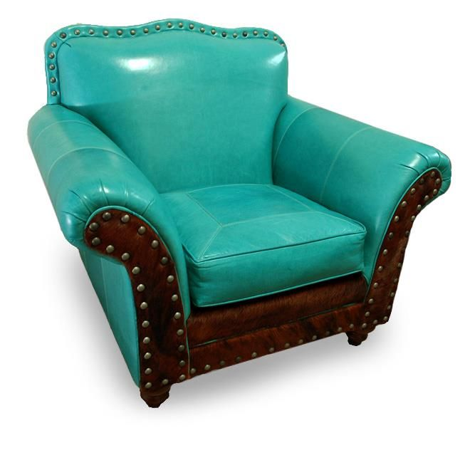 Great Blue Heron turquoise leather club chair available at the Western Home & Design Center