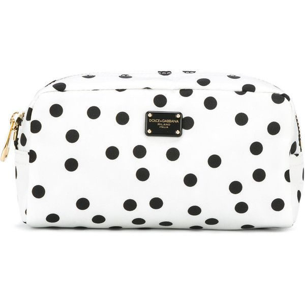 Dolce & Gabbana polka dot makeup bag (1.210 RON) ❤ liked on Polyvore featuring beauty products, beauty accessories, bags & cases, white, wash bag, toiletry bag, cosmetic bags, cosmetic purse and makeup bag case