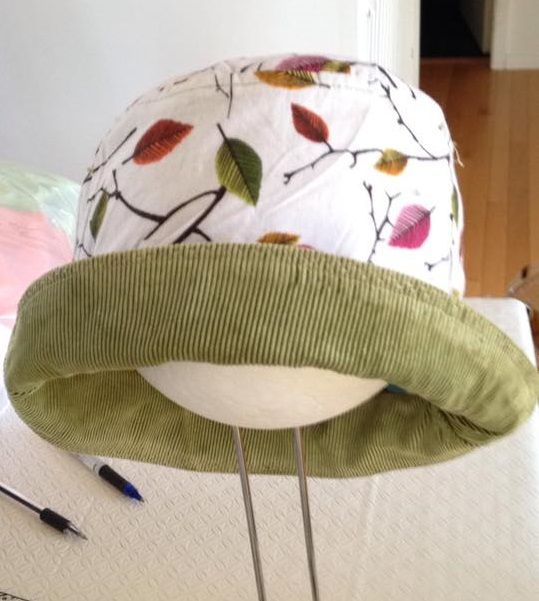 Reverse side of child's owl hat