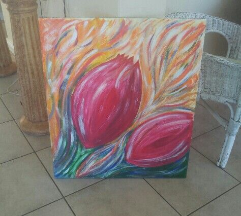 Tulips on large canvas