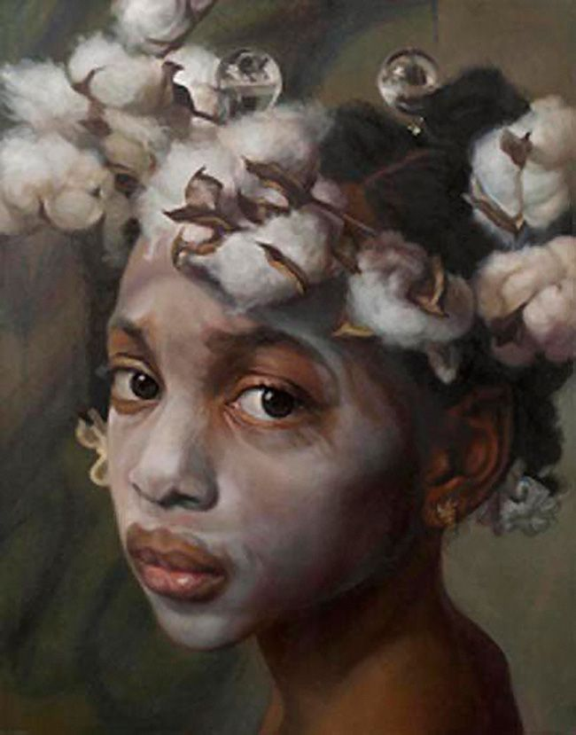 """Amazing Grace"" - Margaret Bowland (b. 1953), pastel and charcoal on paper, 2011 {contemporary figurative realism artist african-american black female child head art beautiful girl cotton face portrait drawing #loveart}"