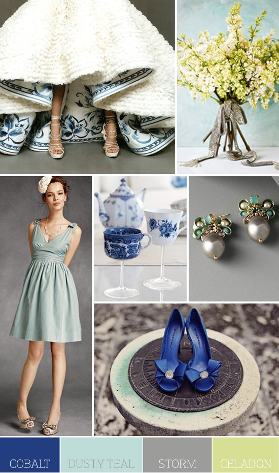 I LOVE the underneath of the wedding dress!  How unique!Wedding Dressses, Colors Combos, Bridesmaid Dresses, Dusty Teal, Colors Palettes, Blue Shoes, Colors Schemes, Wedding Colors, Dior Dress