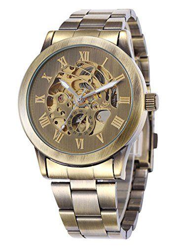 Alienwork Retro mechanische Automatik Armbanduhr Skelett Automatikuhr Uhr vintage bronze braun Metall W9269-03 - http://on-line-kaufen.de/alienwork/alienwork-retro-mechanische-automatik-skelett