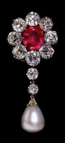 Circa 1880 Ruby, Mine-Cut Diamond, and White Drop Pearl Brooch Mounted In Silver and Gold.