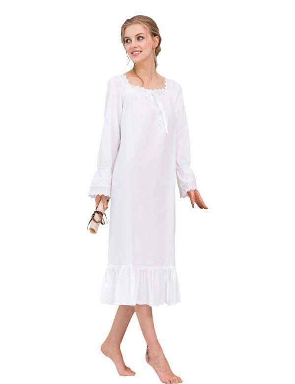 7bf421c28c27 O-neck Lace Patchwork Sleep Dress Long Sleeve Women White Nightdress Ruffle  Hem Sleepwear Female
