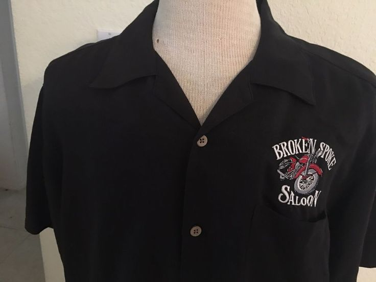 Broken Spoke Saloon Sturgis Button front Shirt Mens Large Black Motorcycle Biker #Harrington #ButtonFront