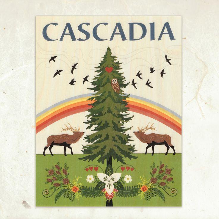 Cascadia Eco-Friendly Fine Art Wood Print by Arrowyn Craban Lauer / LittleGoldFoxDesigns on Etsy