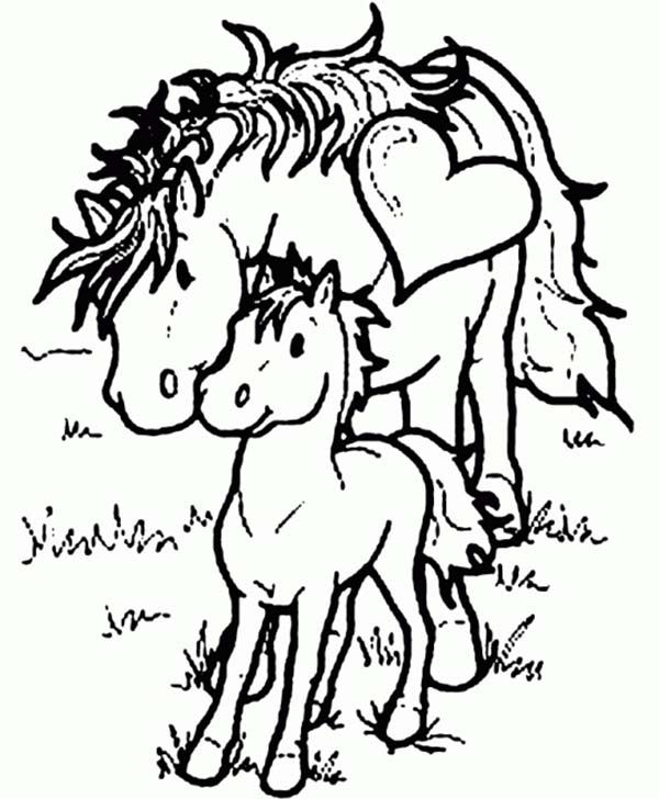 mother horse love her baby horse in horses coloring page
