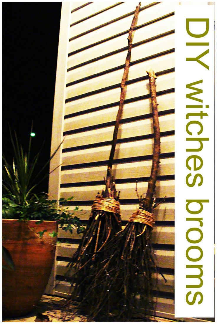 diy witches brooms take twigs and limbs from the yard hot glue tape and wrap with jute or raffia Awesome!