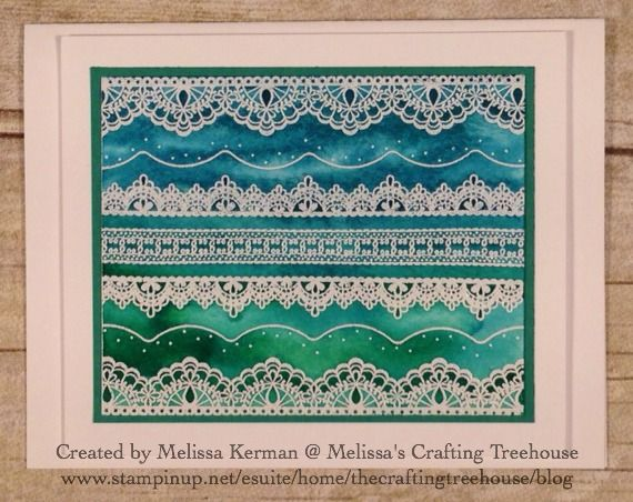 Delicate Details Sale-a-bration stamp set with Emerald Envy and Island Indigo. Yummy. Created my Melissa Kerman, Stampin' Up Demonstrator since 2003.