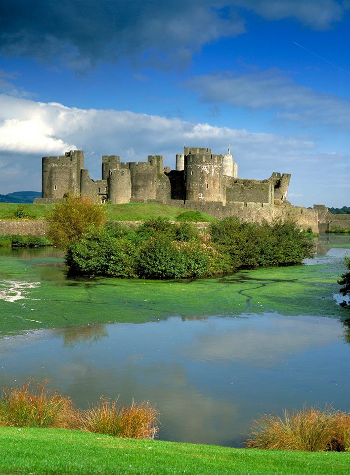 Caerphilly Castle ~ Town of Caerphilly, Rhymney Valley, Wales [photo by Angela…