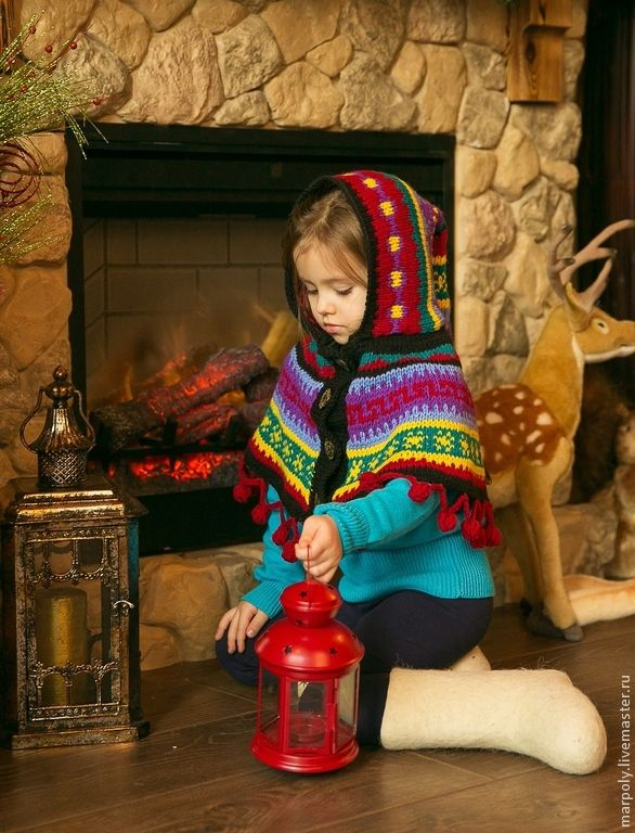 """Купить Накидка """"Эльфийская"""" - орнамент, полушерсть, накидка, шапка вязаная, шарф, детская шапка, эльф"""