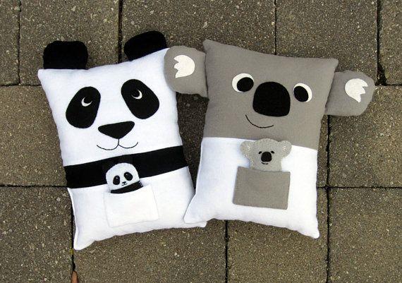 Panda Pillow Pattern and Stuffed Koala Pillow Set, PDF Sewing Pattern includes tiny felt Baby Panda and Baby Koala tutorials.
