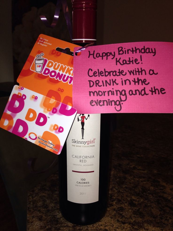 Cute birthday gift idea!! Can never go wrong with a cup of coffee and a glass of wine!