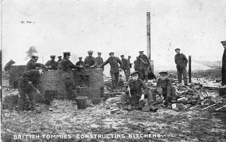 WW1 British Tommies Constructing Kitchens S&S Charity Card RP Postcard