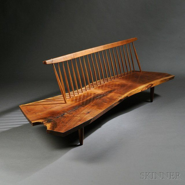 George Nakashima (1905-1990) Conoid Bench | Sale Number 2770B, Lot Number 313 | Skinner Auctioneers