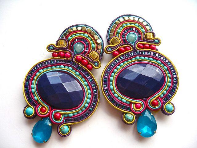 custom made for Amber by BlackMarketJewels #soutache #beads #earrings #statement #purple #jewellery #jewelry #blackmarketjewels