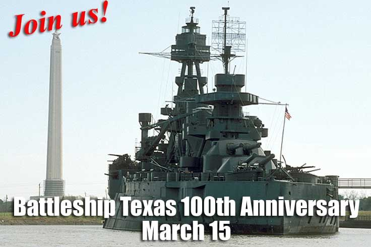 Join Texas Parks & Wildlife for the Battleship Texas Centennial Celebration March 15. Ship tours, music fest and more. Tickets on sale now.