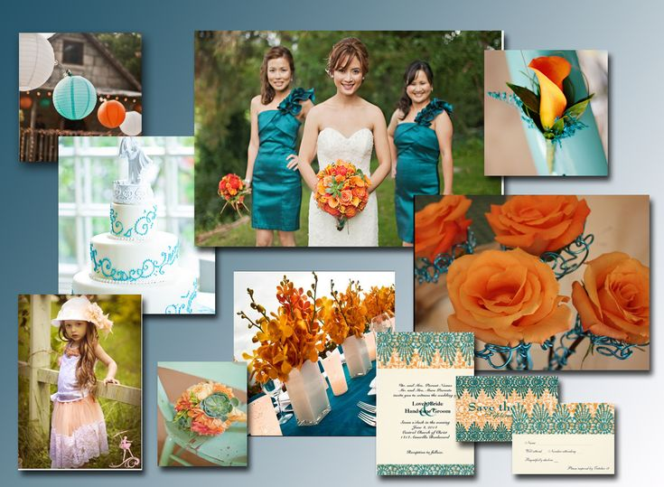 teal and orange wedding | Teal & Orange