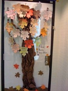 Students write poems about fall and write them on the leaves for the tree on…