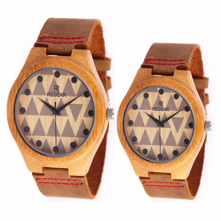 Hot Selling Fashion Bamboe Houten minnaar Horloges Met Echt Koeienhuid Lederen Band Luxe Hout Horloges(China (Mainland))