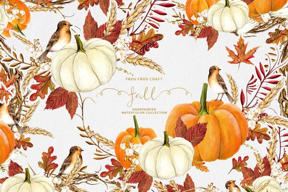 Chute Clip Art automne Clipart aquarelle citrouille Halloween Thanksgiving peint…