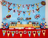 Superhero BABY Shower Party Printable Package & Invitation, INSTANT DOWNLOAD, You Edit Yourself with Adobe Reader