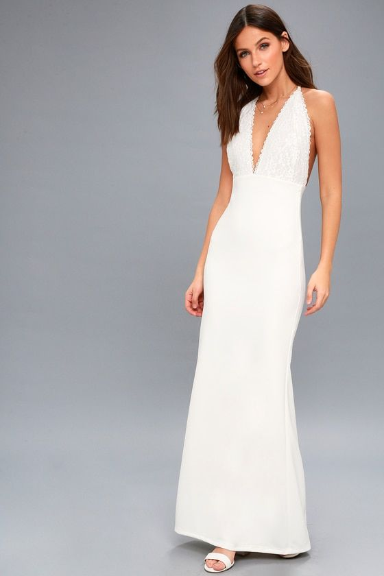 Prima Donna Life White Lace Backless Maxi Dress 1 039cd4250