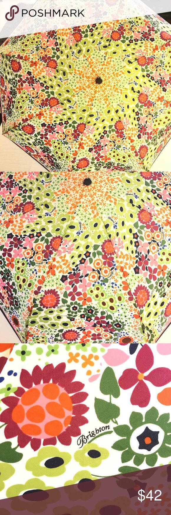 "Brighton floral umbrella Preloved floral Brighton umbrella ☂. Opens automatically and closes manually.  Black handle with wrist strap.  34"" circumference. Brighton Accessories Umbrellas"
