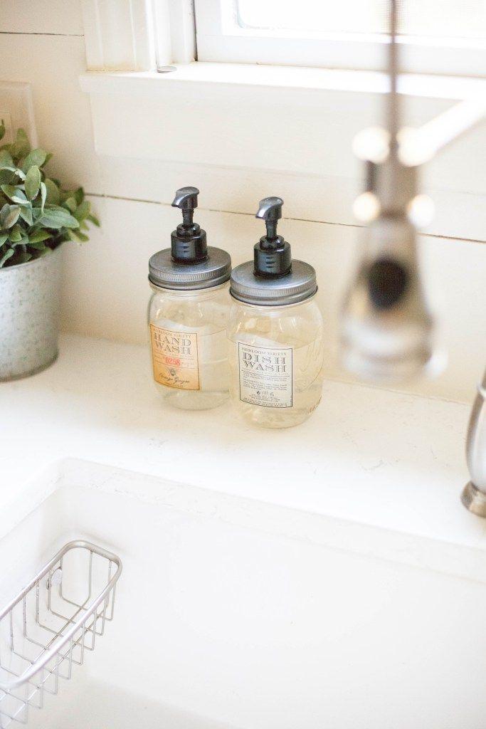 Mason jar soap dispensers for hand and dish soap from World Market | Kitchen #decor #ideas | #WorldMarketMA #ad | Lauren McBride
