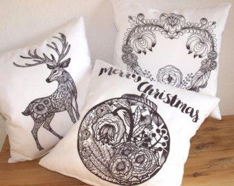 Christmas Pillow Set of 3 -Throw Pillow - Christmas Coloring Pillow Covers, Christmas decor, home decor, Winter pillow, cushion cover