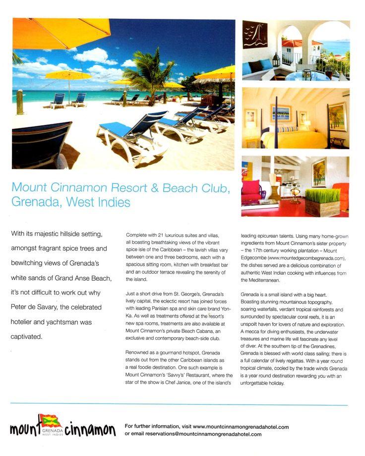 Halcyon Harrods Magazine Mount Cinnamon Resort Beach Club Beach Club Resort West Indies